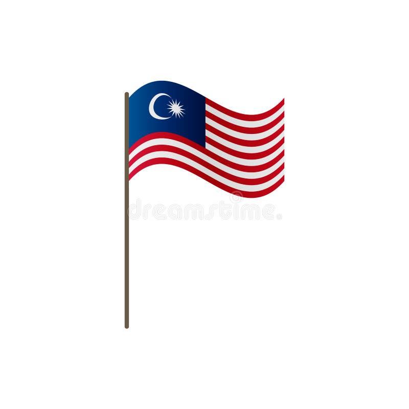Malezja flaga na flagpole Urzędnik proporcja prawidłowo i Falowanie Malezja flaga na flagpole, wektorowa ilustracja ilustracja wektor