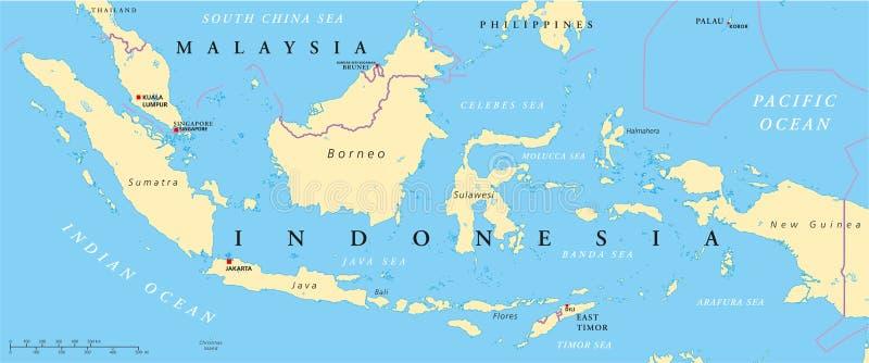 Malezja I Indonezja Polityczna mapa ilustracji