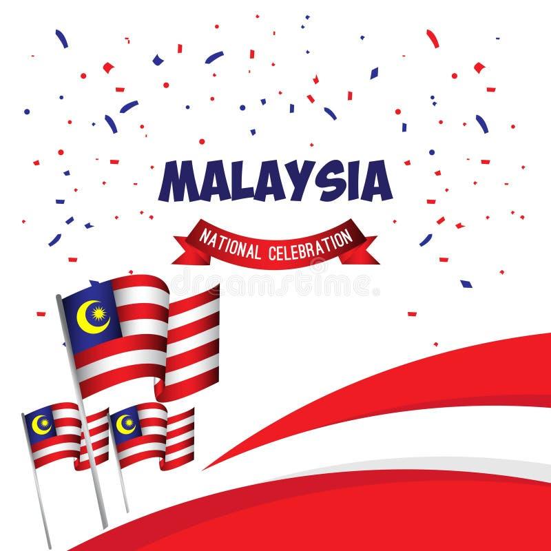 Malezja Krajowego świętowania szablonu projekta Plakatowa Wektorowa ilustracja ilustracji