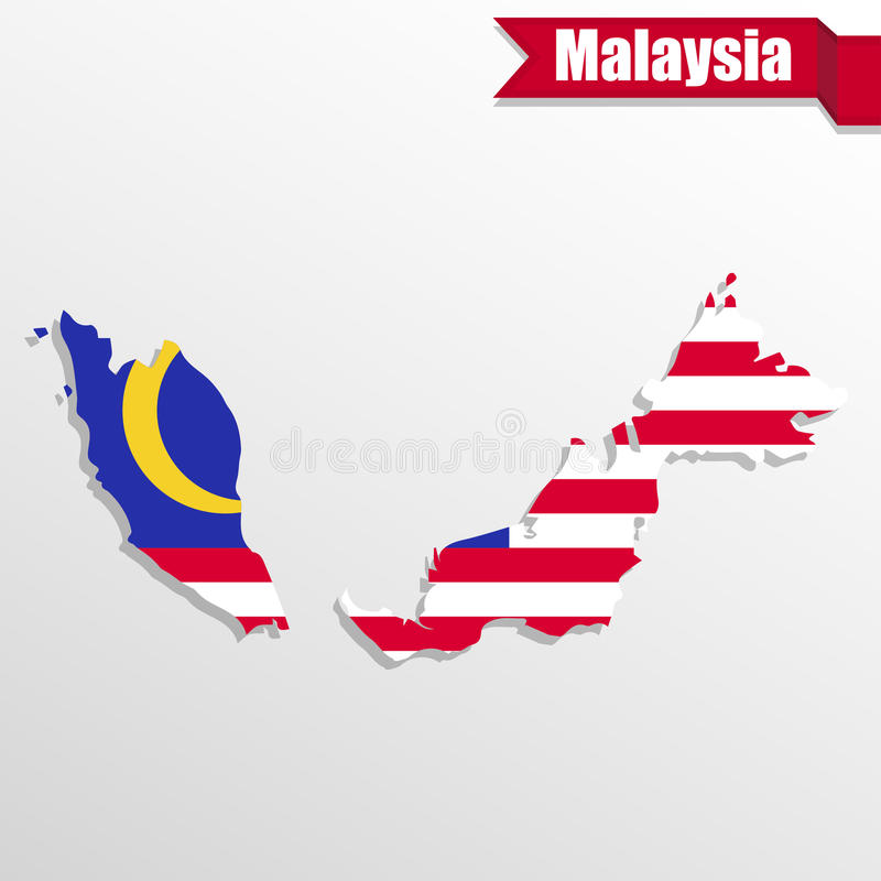 Malezja mapa z flaga faborkiem i inside royalty ilustracja