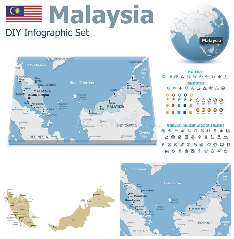 Malezja mapy z markierami ilustracji