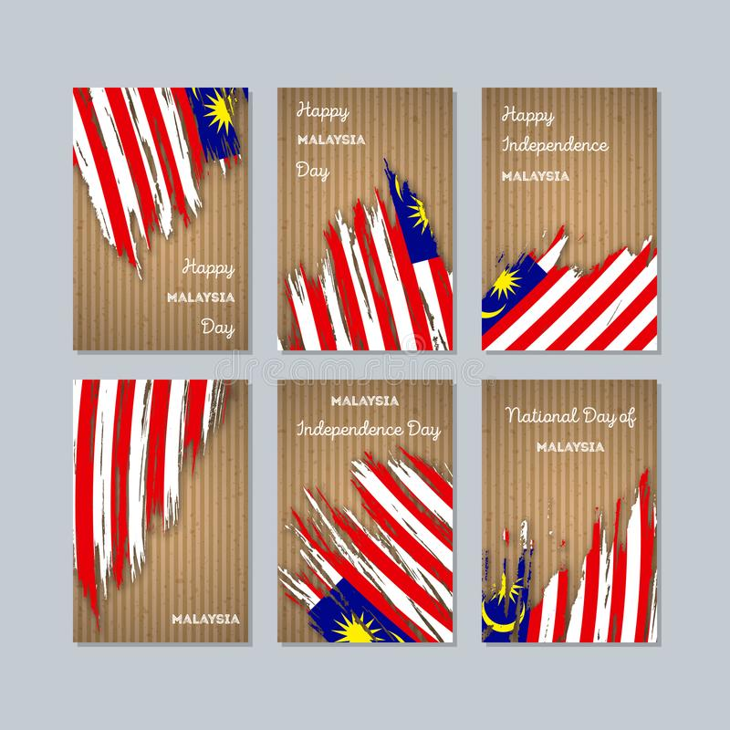 Malezja Patriotyczne karty dla święta państwowego royalty ilustracja