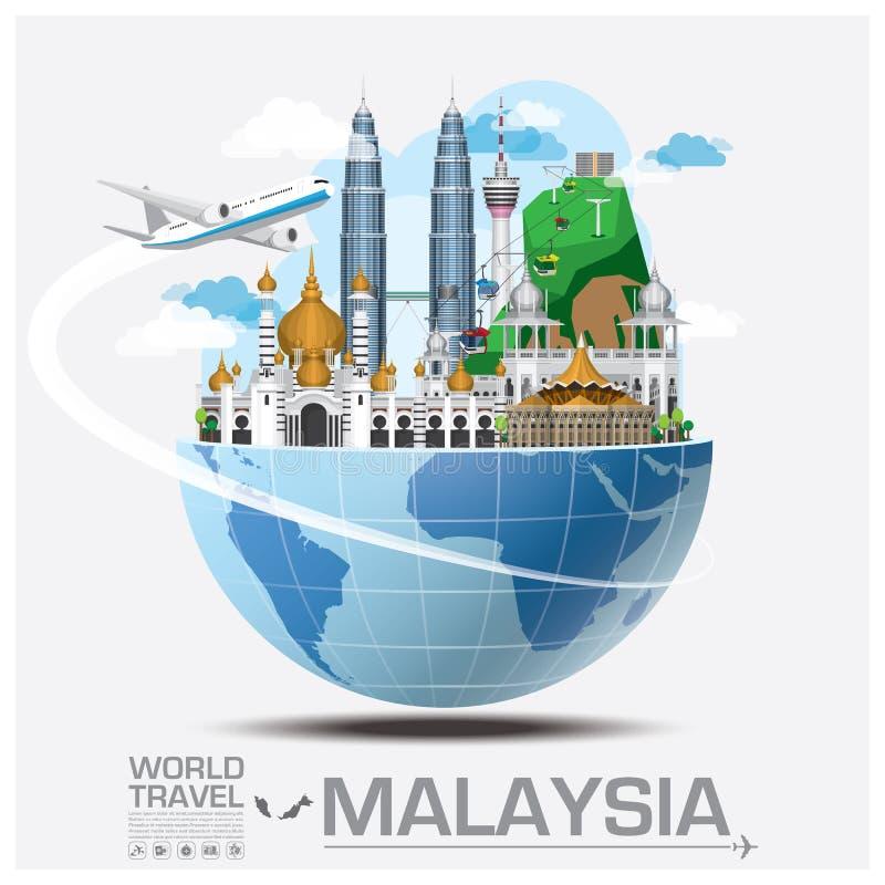 Malezja punktu zwrotnego Globalna podróż Infographic I podróż royalty ilustracja