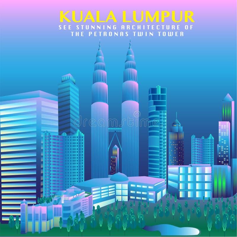 Malezja stolicy Wektorowy projekt royalty ilustracja