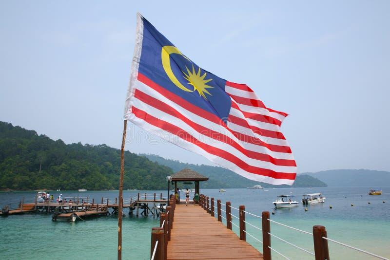 Malezyjczyk flaga na Manukan wyspie obraz royalty free