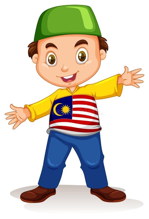 Malezyjska chłopiec jest ubranym koszula i spodnia ilustracja wektor