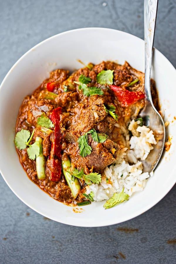 Malezyjski wołowina curry z scallions i pieprzami fotografia royalty free