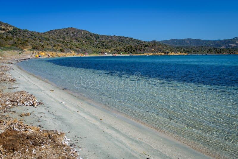 Malfatano strand i södra sardinia royaltyfri fotografi