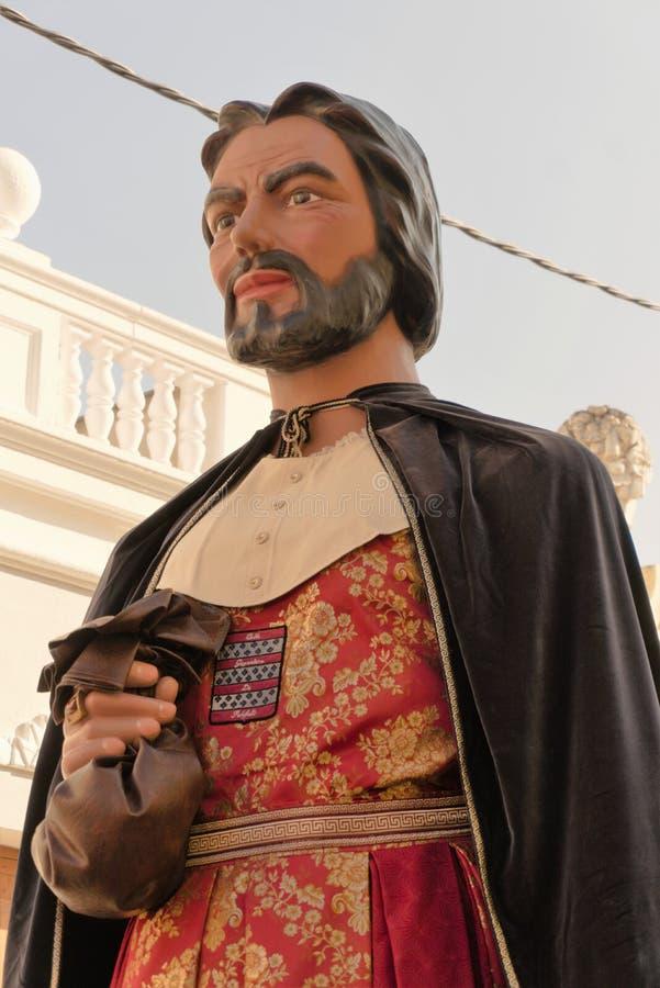 Malgrat De mars, Espagne, août 2018 Festival de marionnette, plan rapproché du chiffre du roi avec un sac d'argent photos libres de droits
