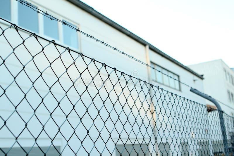 Malha com fio, cerca com arame farpado no topo, prisão conceitual, zona de segurança, close-up, espaço para cópia fotografia de stock royalty free