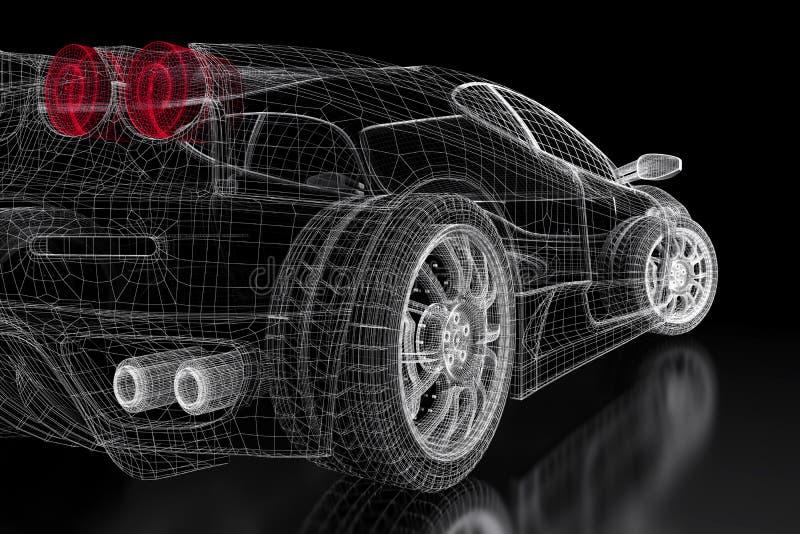 malha do carro 3D em um preto ilustração do vetor