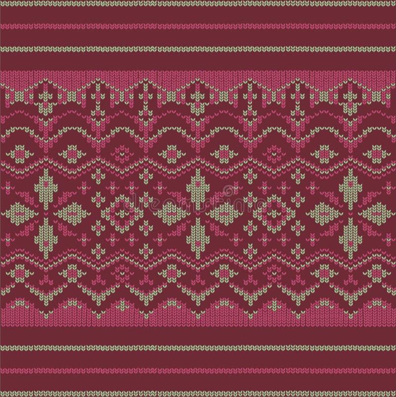 Malha e bordado nórdicos tradicionais do ornamento ilustração stock
