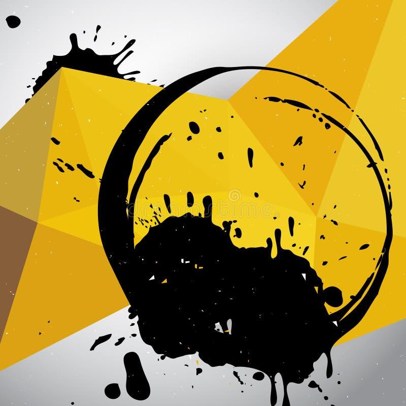 Malha geométrica amarela com manchas ilustração royalty free