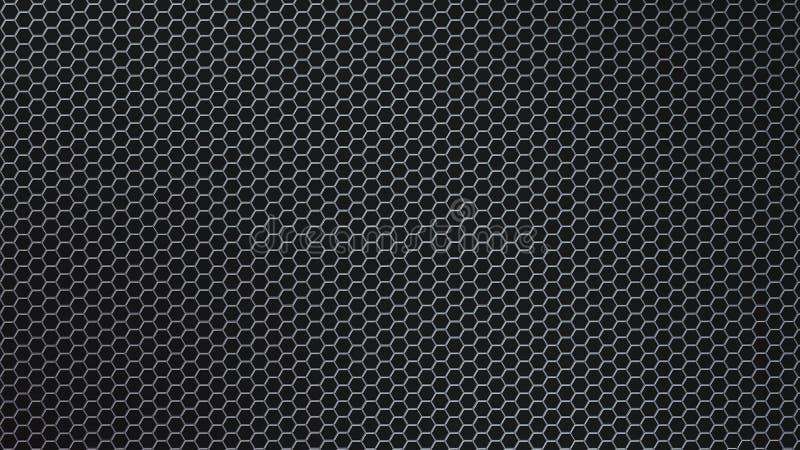 Malha sextavada brilhante do metal do sumário no fundo preto imagens de stock royalty free