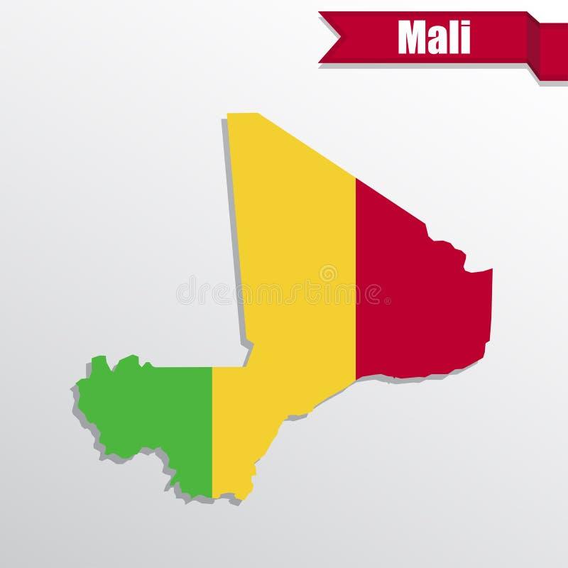 Mali översikt med det flaggainsidan och bandet stock illustrationer