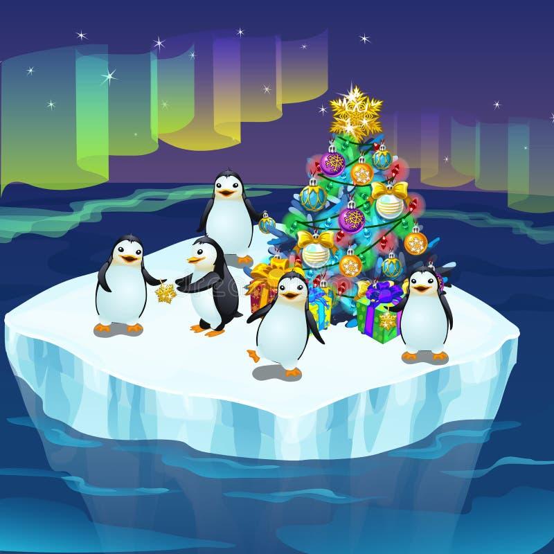Mali śliczni pingwiny na lodowym floe dekorują choinki Plakat na temacie nowy rok wektor ilustracja wektor