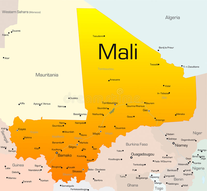 Mali. Abstract vector color map of Mali country stock illustration