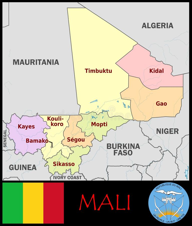 Mali Administrative Divisions Stock Illustration Illustration of