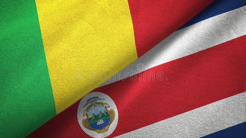 Mali and Costa Rica two flags textile cloth, fabric texture. Mali and Costa Rica flags together textile cloth, fabric texture royalty free illustration