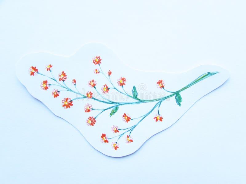 Mali czerwień kwiaty rysujący kolorów ołówków freehand ścinkiem na białej księgi tle obraz stock