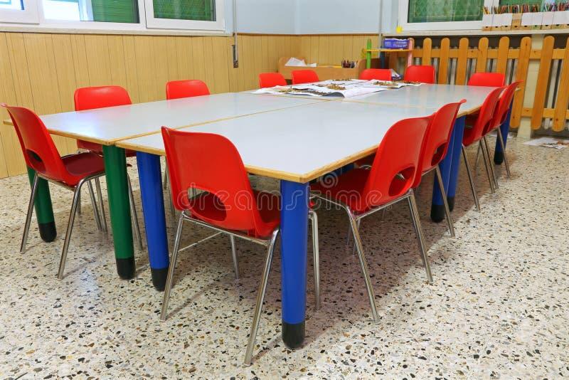 Mali czerwieni krzesła, stoły wśrodku szkolnej sali lekcyjnej sch i obraz stock