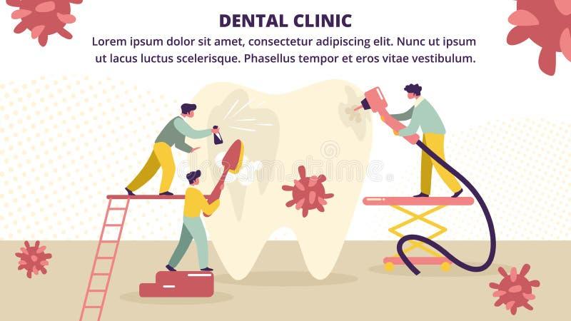 Mali Dentyści Traktują Ogromne Zęby Niezdrowe ilustracja wektor