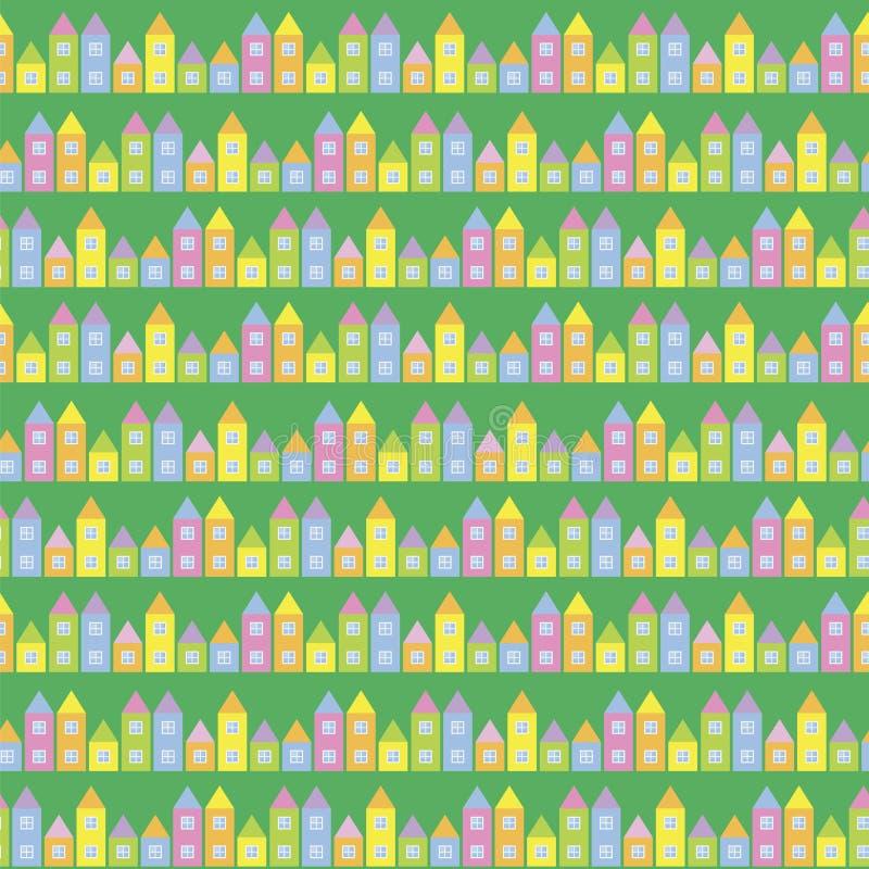 Mali domy dziecka ` s bawić się sześciany różni rozmiary na soczystym naszłym zielonym tle traw ulic wektoru seamles royalty ilustracja