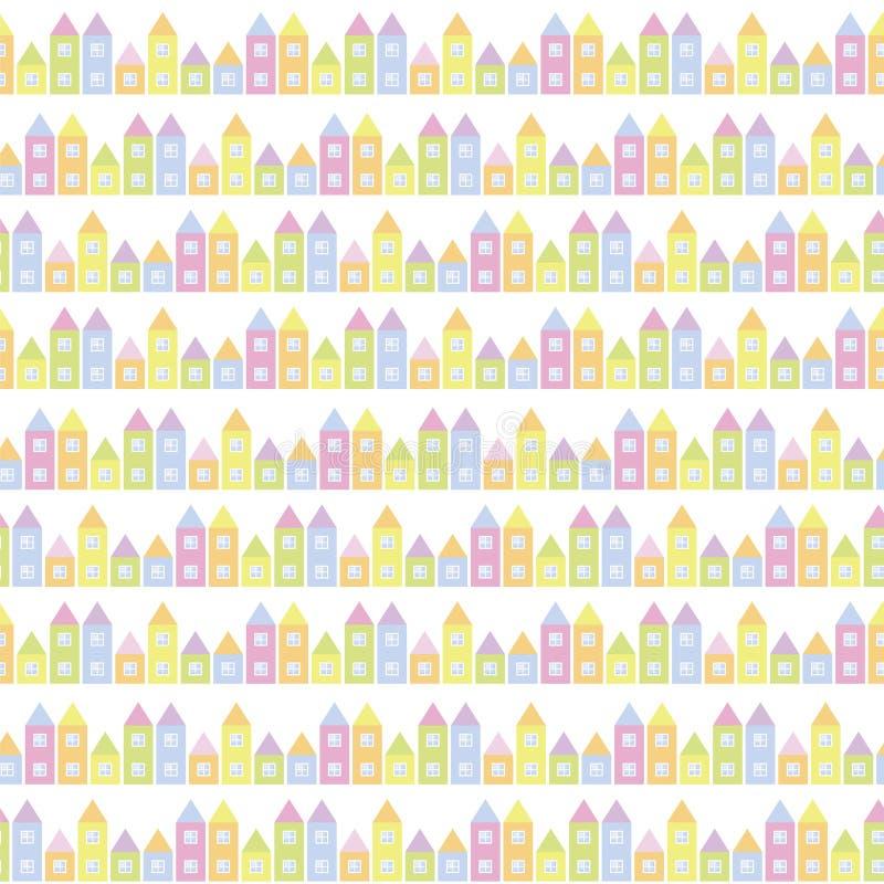 Mali domy z okno od dziecka ` s bawić się sześciany stubarwnych na białego tła pastelowych kolorów kolorowym wektorowym bezszwowy royalty ilustracja