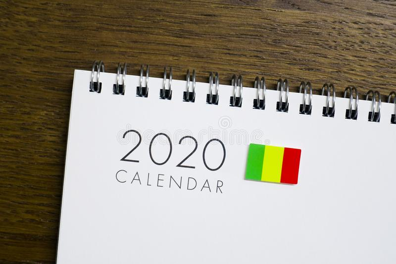 Mali flaga na 2020 kalendarzu fotografia royalty free