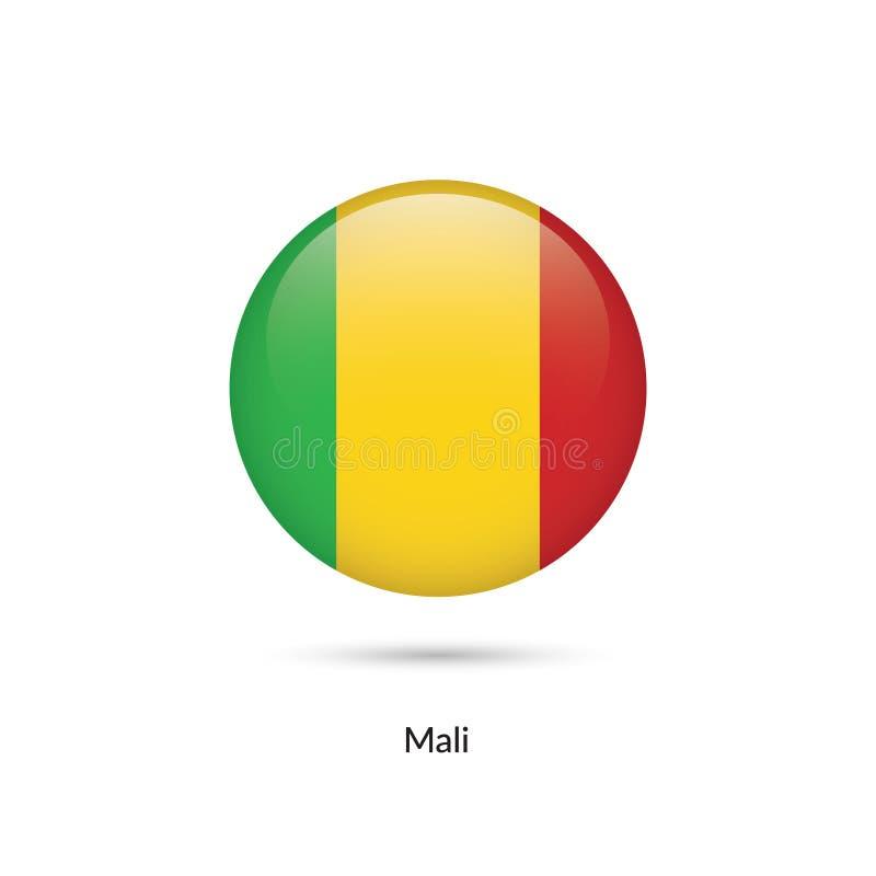 Mali flagga - rund glansig knapp vektor illustrationer