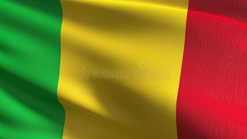 Mali flagi państowowej dmuchanie w wiatrze odizolowywającym Oficjalny patriotyczny abstrakcjonistyczny projekt 3D renderingu ilus royalty ilustracja