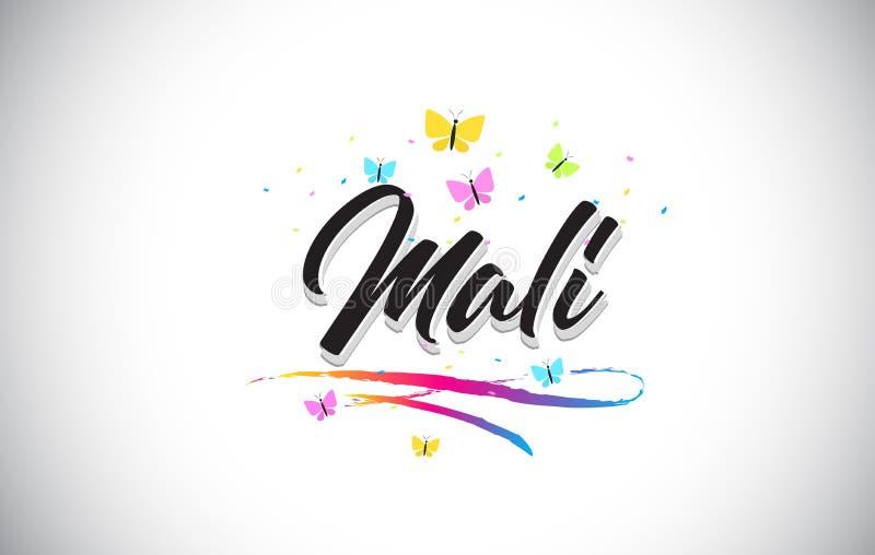 Mali Handwritten Vector Word Text con le farfalle e variopinto mormorano royalty illustrazione gratis