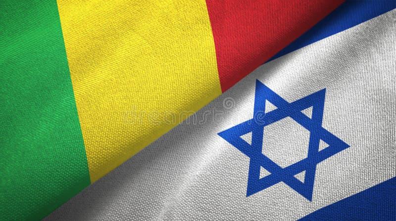 Mali i Izrael dwa flagi tekstylny p??tno, tkaniny tekstura ilustracji