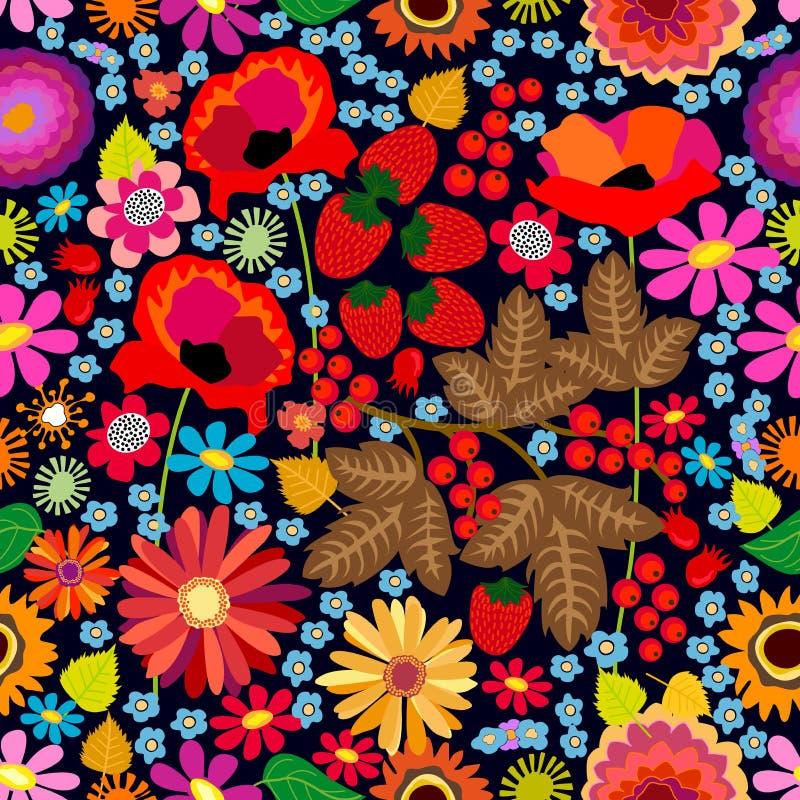 Mali kwiaty i jagody ilustracja wektor