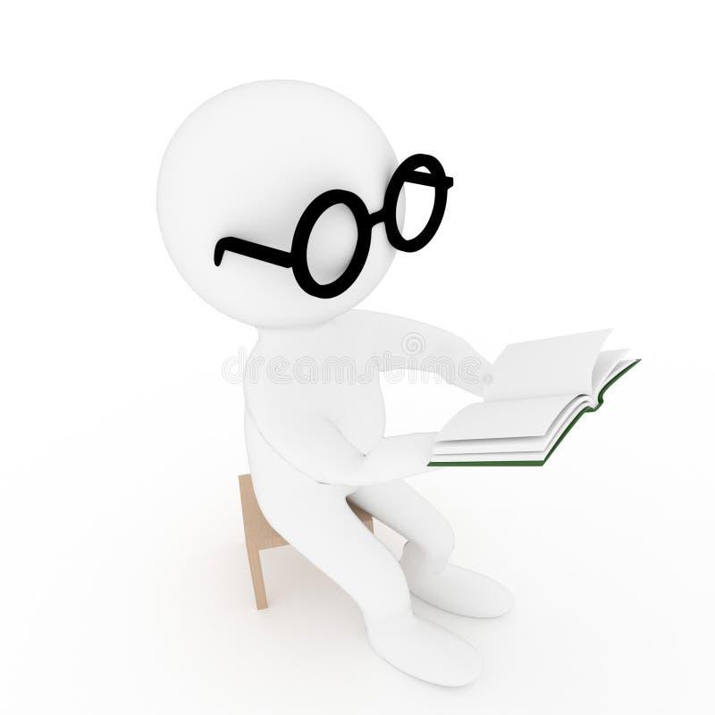 Mali ludzie czytelniczej książki na odosobnionym białym tle w 3D renderingu obraz stock