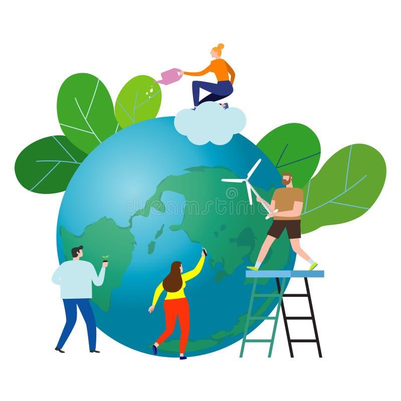 Mali ludzie przygotowywają dla dnia ziemia oprócz planety, oprócz światowego, Ziemskiego dnia, ekologii pojęcia wektoru ilustracj ilustracji