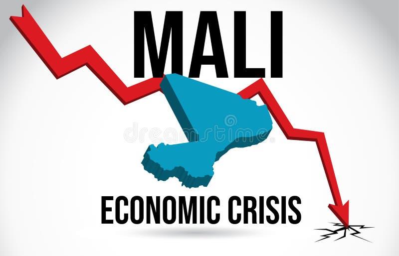 Mali Map Financial Crisis Economic Collapse Market Crash Global Meltdown Vector. Illustration vector illustration