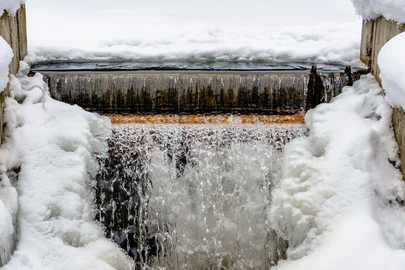 Mali marznący siklawa, zimna woda, śnieg, lód, zima i mróz, obraz royalty free