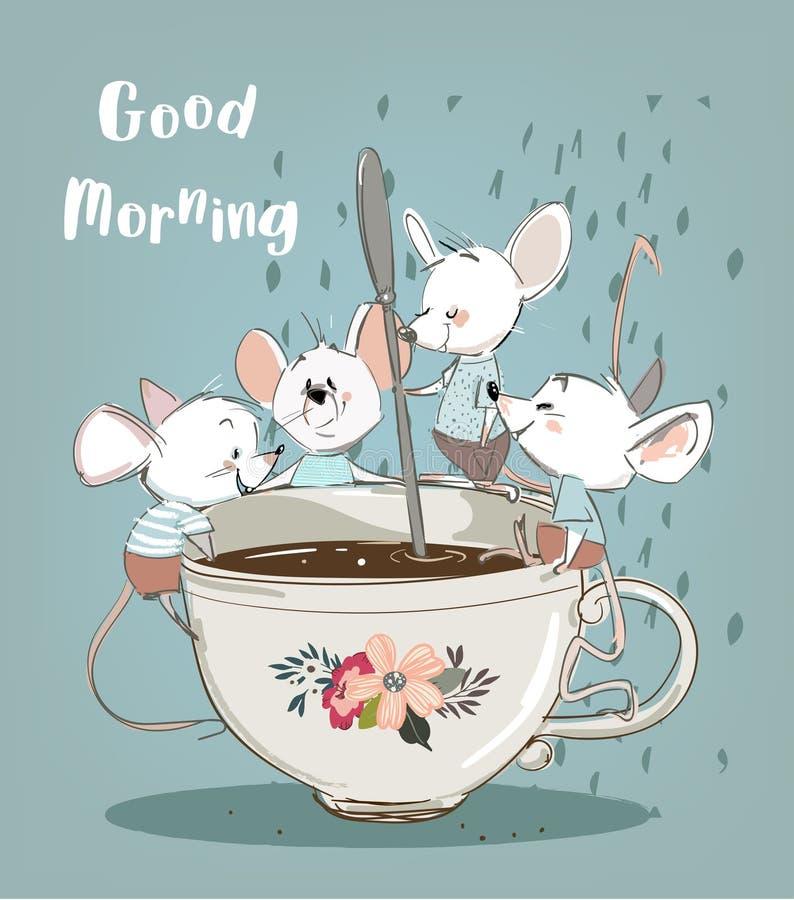 Mali mouses z filiżanką royalty ilustracja