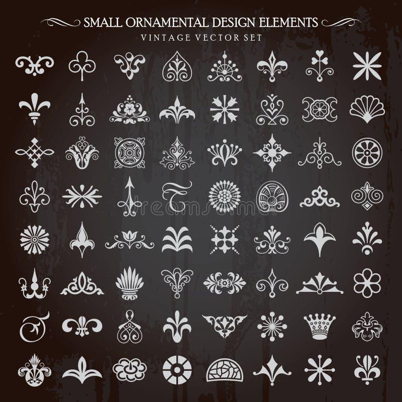 Mali Ornamentacyjni projektów elementy Wektorowi ilustracji