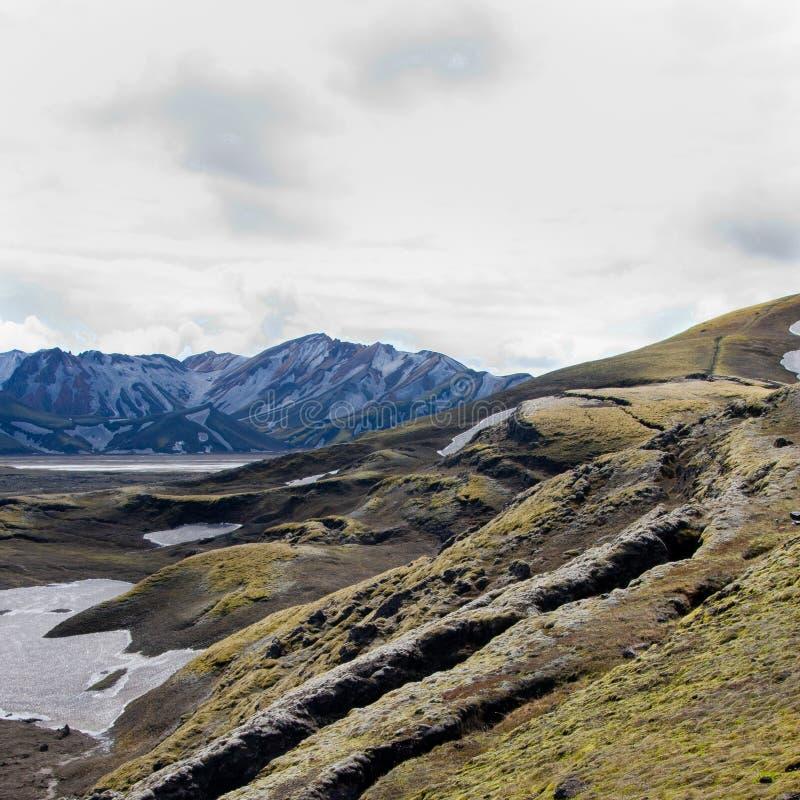 Mali pęknięcia w Islandzkim krajobrazie fotografia stock