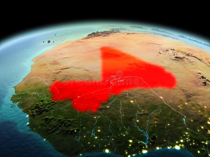 Mali on planet Earth in space. Morning above Mali highlighted in red on model of planet Earth in space. 3D illustration. Elements of this image furnished by NASA stock photography