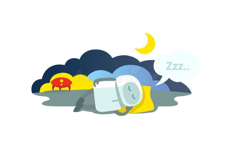 Mali robotów sen kłama na poduszce przyjeżdżali rakietę i dosypianie Sen trybu hibernaci obsiadanie Mtaphor - zamknięty ilustracja wektor