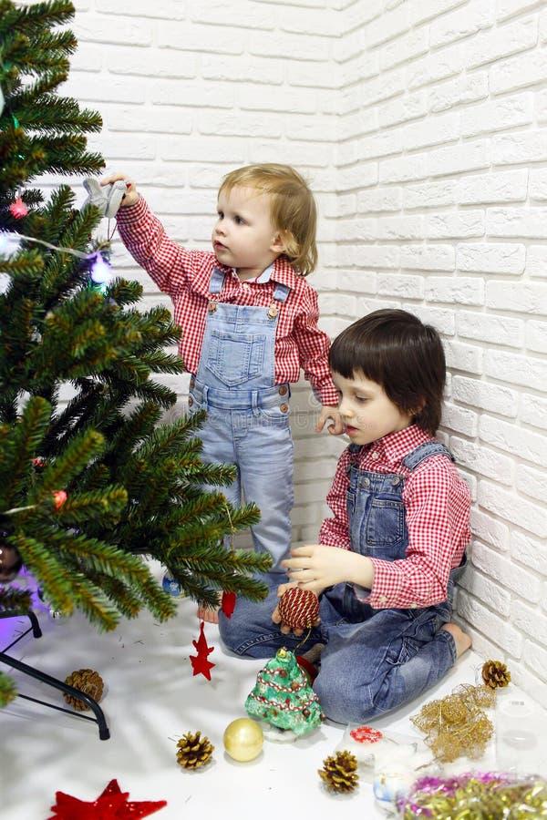 Mali 5 rok braci i 1 roku siostra w czerwonych szkockich krat koszula i zdjęcie royalty free