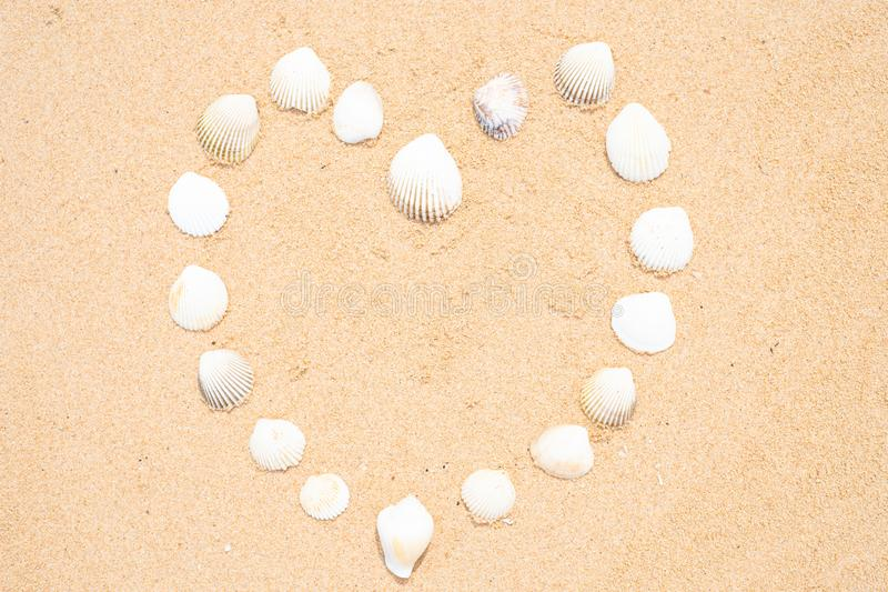 Mali seashells w formie serca na g?adkiej piaskowatej pla?y obraz royalty free