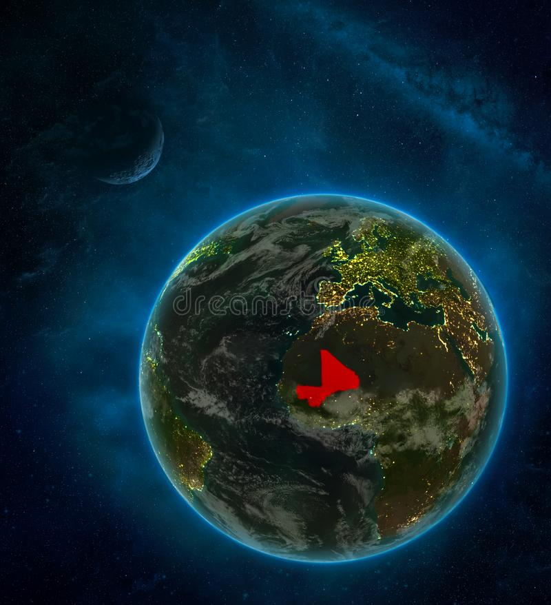 Mali from space on Earth at night surrounded by space with Moon and Milky Way. Detailed planet with city lights and clouds. 3D. Illustration. Elements of this vector illustration