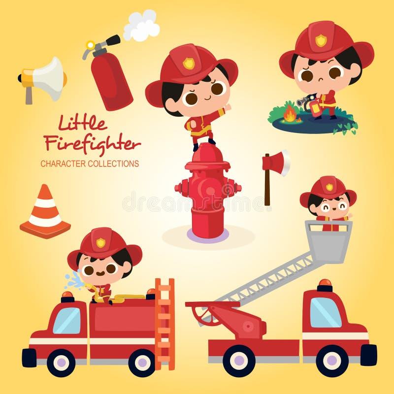 Mali strażaków charaktery Inkasowi ilustracja wektor
