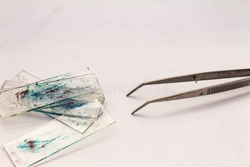 Mali szkła z kawałkami histologiczne biopsje na białym tle Mały metalu kahat fotografia stock