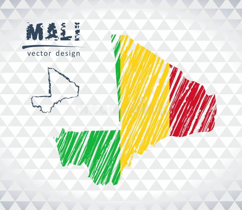 Mali wektorowa mapa z flaga inside odizolowywającym na białym tle Nakreślenie kredy ręka rysująca ilustracja ilustracja wektor
