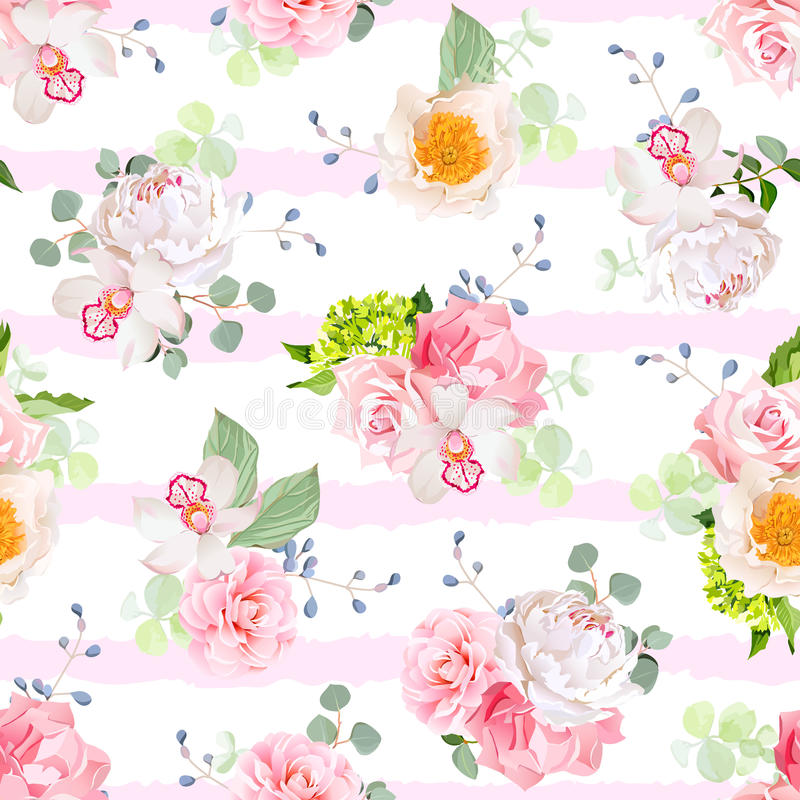 Mali wiosna bukiety wzrastali, peonia, kamelia, orchidea, goździk, hortensja, błękitne jagody i eucaliptis liście, royalty ilustracja